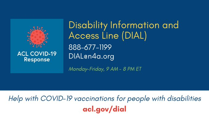 Disability Information and Access Line (DIAL): Help with COVID-19 vaccinations for people with disabilities